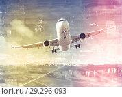 Купить «Plane on city background», фото № 29296093, снято 23 января 2019 г. (c) Яков Филимонов / Фотобанк Лори