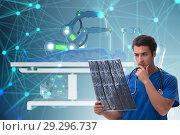 Купить «Telehealth concept with doctor doing remote check-up», фото № 29296737, снято 26 марта 2019 г. (c) Elnur / Фотобанк Лори