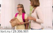 Купить «loving mother giving school lunch to daughter», видеоролик № 29306901, снято 18 октября 2018 г. (c) Syda Productions / Фотобанк Лори