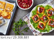 Купить «Polenta Squares open sandwiches, top view», фото № 29308881, снято 24 октября 2018 г. (c) Oksana Zh / Фотобанк Лори