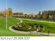 Купить «Музыкальный зеленый лабиринт в новом городском парке в солнечный осенний день», фото № 29309537, снято 19 октября 2018 г. (c) Наталья Гармашева / Фотобанк Лори
