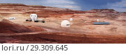 Купить «HANKSVILLE, UTAH - AUGUST 15, 2018: Panorama of the Mars Desert Research Station», фото № 29309645, снято 15 августа 2018 г. (c) Ирина Кожемякина / Фотобанк Лори