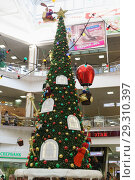 Купить «Russia, Krasnodar-January 07, 2017: new year tree with gnomes, bringing gifts in the shopping and entertainment complex Red Square», фото № 29310397, снято 7 января 2017 г. (c) Наталья Гармашева / Фотобанк Лори