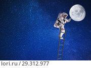 Купить «Космонавт путешествует по лестнице на Луну», фото № 29312977, снято 30 марта 2020 г. (c) Сергей Гавриличев / Фотобанк Лори