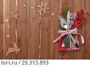Купить «New Year and Christmas table setting. Menu.», фото № 29313893, снято 15 октября 2018 г. (c) Мельников Дмитрий / Фотобанк Лори