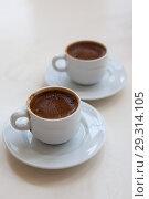 Купить «Two cups of Turkish coffee», фото № 29314105, снято 10 октября 2018 г. (c) Юлия Кузнецова / Фотобанк Лори