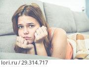 Купить «Portrait of woman sad and thinking», фото № 29314717, снято 23 февраля 2019 г. (c) Яков Филимонов / Фотобанк Лори