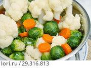 Купить «Варёные овощи. Цветная капуста, брюссельская капуста и морковь», эксклюзивное фото № 29316813, снято 25 октября 2018 г. (c) Dmitry29 / Фотобанк Лори
