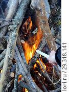 Купить «Костер и кука со свечой», фото № 29318141, снято 7 октября 2018 г. (c) Валерий Шилов / Фотобанк Лори