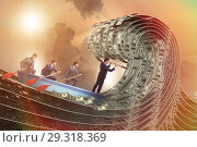 Купить «Businessman leading his team through wave of dollars», фото № 29318369, снято 18 февраля 2019 г. (c) Elnur / Фотобанк Лори