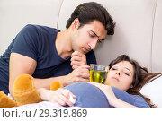 Купить «Young husband looking after his pregnant wife», фото № 29319869, снято 25 июня 2018 г. (c) Elnur / Фотобанк Лори