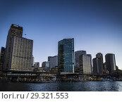Купить «CBD central business district and circular quay area of downtown sydney city australia at sunset.», фото № 29321553, снято 19 августа 2012 г. (c) age Fotostock / Фотобанк Лори