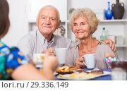 Купить «Smiling elderly spouses enjoying tea with girl», фото № 29336149, снято 28 августа 2017 г. (c) Яков Филимонов / Фотобанк Лори