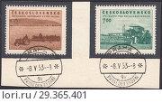 Посев зерна и уборка урожая,социалистическое сельское хозяйство. Почтовая марка Чехословакии 1953 года. Стоковая иллюстрация, иллюстратор александр афанасьев / Фотобанк Лори