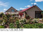 Купить «Beautiful country house with blooming garden on a summer day», фото № 29365549, снято 7 июля 2018 г. (c) Катерина Белякина / Фотобанк Лори