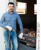 Купить «Mature farmer in hangar with hogs», фото № 29367021, снято 17 января 2019 г. (c) Яков Филимонов / Фотобанк Лори