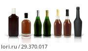 Купить «Set of photo-realistic whiskey, cognac and scotch bottles», иллюстрация № 29370017 (c) Шильникова Дарья / Фотобанк Лори