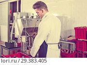 Купить «Male worker bottling wine with machine at sparkling wine factory», фото № 29383405, снято 10 ноября 2016 г. (c) Яков Филимонов / Фотобанк Лори