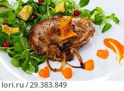 Купить «Grilled pork chop with greens and squash puree», фото № 29383849, снято 21 марта 2019 г. (c) Яков Филимонов / Фотобанк Лори