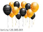 Купить «Bright gold and black balloons 2019, Christmas, New Year Balloon with glitter on white background. Isolated. Ballon inscriptions», фото № 29385001, снято 22 января 2019 г. (c) Сергей Тимофеев / Фотобанк Лори