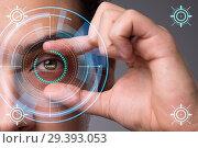 Купить «Concept of sensor implanted into human eye», фото № 29393053, снято 14 ноября 2018 г. (c) Elnur / Фотобанк Лори