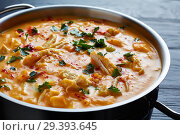 Купить «butternut squash chicken breast creamy soup», фото № 29393645, снято 5 ноября 2018 г. (c) Oksana Zh / Фотобанк Лори