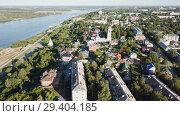 Купить «Panoramic aerial view historical part of the Murom with Oka, Russia», видеоролик № 29404185, снято 28 июня 2018 г. (c) Яков Филимонов / Фотобанк Лори
