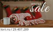 Купить «Digitally generated video of winter sale 4k», видеоролик № 29407289, снято 21 ноября 2018 г. (c) Wavebreak Media / Фотобанк Лори