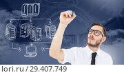 Купить «Servers network doodle being drawn by businessman's hand», фото № 29407749, снято 19 июня 2019 г. (c) Wavebreak Media / Фотобанк Лори