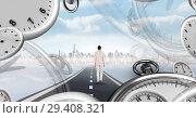 Купить «Businesswoman walking on road with surreal time clocks perspective», фото № 29408321, снято 16 июня 2019 г. (c) Wavebreak Media / Фотобанк Лори