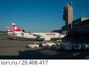 Купить «Zuerich, Switzerland, Airplane at the airport Zuerich-Kloten», фото № 29408417, снято 26 мая 2017 г. (c) Caro Photoagency / Фотобанк Лори