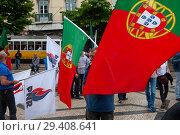 Купить «Lisbon, Portugal, Protest against mass immigration», фото № 29408641, снято 10 июня 2018 г. (c) Caro Photoagency / Фотобанк Лори