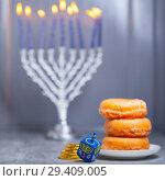 Купить «The Religious symbols of Jewish holiday Hanukkah», фото № 29409005, снято 10 ноября 2018 г. (c) Константин Сенявский / Фотобанк Лори