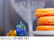 Купить «The Religious symbols of Jewish holiday Hanukkah», фото № 29409181, снято 10 ноября 2018 г. (c) Константин Сенявский / Фотобанк Лори