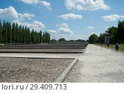 Купить «Dachau, Germany, barracks in Dachau concentration camp memorial site », фото № 29409713, снято 3 июня 2017 г. (c) Caro Photoagency / Фотобанк Лори