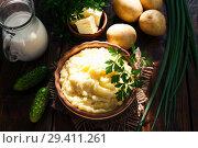 Купить «Картофельное пюре на столе», фото № 29411261, снято 30 сентября 2018 г. (c) Надежда Мишкова / Фотобанк Лори