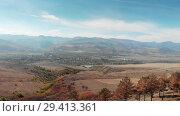 Купить «Trees and Mountains in Georgia Sandy sharp gorges in Mountains 4K epic Drone flight Caucasus hills and valley beauty Georgian nature», видеоролик № 29413361, снято 6 ноября 2018 г. (c) Aleksejs Bergmanis / Фотобанк Лори