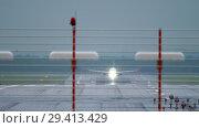 Купить «Airplane departure at rain», видеоролик № 29413429, снято 18 октября 2018 г. (c) Игорь Жоров / Фотобанк Лори