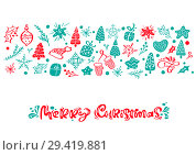 Купить «Merry Christmas vector calligraphy lettering text. Xmas scandinavian greeting card. Hand drawn illustration of a cute funny winter elements. Isolated objects», иллюстрация № 29419881 (c) Happy Letters / Фотобанк Лори