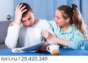 Купить «Couple struggling to pay bills», фото № 29420349, снято 18 марта 2017 г. (c) Яков Филимонов / Фотобанк Лори