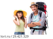 Купить «Young family preparing for vacation travel on white», фото № 29421329, снято 9 июля 2018 г. (c) Elnur / Фотобанк Лори
