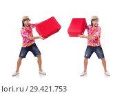 Купить «Tourist with suitcase isolated on white», фото № 29421753, снято 22 ноября 2013 г. (c) Elnur / Фотобанк Лори
