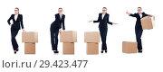 Купить «Woman businesswoman with boxes on white», фото № 29423477, снято 22 августа 2013 г. (c) Elnur / Фотобанк Лори