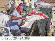 Local fisherman tending his fishing nets on the beach at Monte Gordo, Algarve, Portugal. (2018 год). Редакционное фото, фотограф Findlay Rankin / age Fotostock / Фотобанк Лори