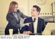 Купить «Sexual harassment between colleagues», фото № 29428017, снято 20 апреля 2017 г. (c) Яков Филимонов / Фотобанк Лори