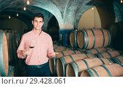 Купить «young man posing in winery cellar», фото № 29428061, снято 21 сентября 2016 г. (c) Яков Филимонов / Фотобанк Лори