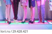 Купить «Fashion Show. Female models walk the runway in dresses», видеоролик № 29428421, снято 18 ноября 2018 г. (c) Константин Шишкин / Фотобанк Лори