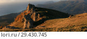 Купить «Beautiful view of the Demerdzhi mountains at sunrise against the backdrop of the sea in the fall in Crimea», фото № 29430745, снято 13 октября 2018 г. (c) Яна Королёва / Фотобанк Лори