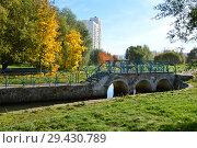 Купить «Первый пешеходный арочный мост через Южный пруд. Район Марьино. Москва», эксклюзивное фото № 29430789, снято 16 октября 2018 г. (c) lana1501 / Фотобанк Лори
