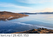 Купить «Lake Baikal in December ice formation. Thin blue ice in Bazarnaya Bay on a cold sunny day», фото № 29431153, снято 2 декабря 2012 г. (c) Виктория Катьянова / Фотобанк Лори